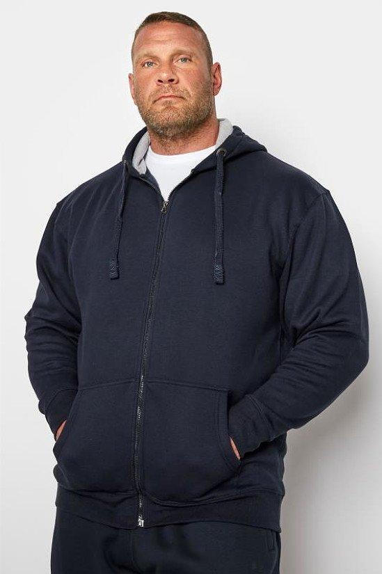 KAM Navy Zip Through Hoodie