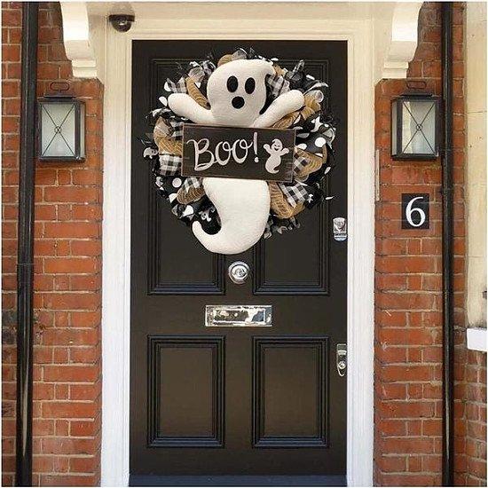 Halloween Friendly White Ghost Wreath
