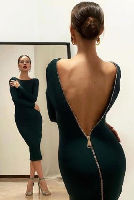 Zip Back Bodycon Dress