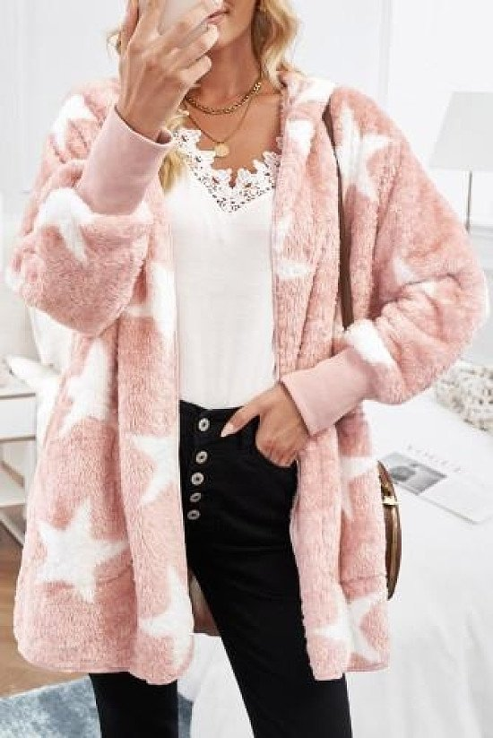Lapel Collar Scatter Star Fuzzy Coat