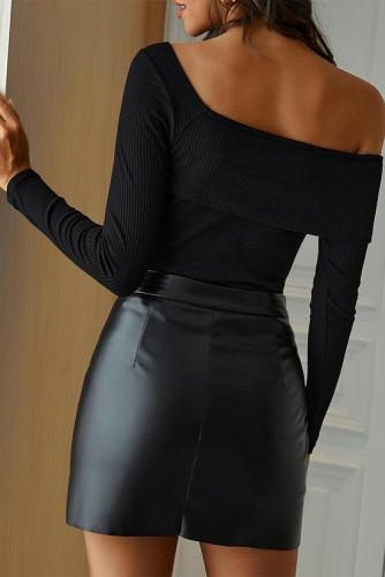 Black Faux Leather Mini Skirt with Slit