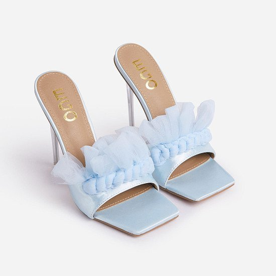 75% Off Made-You-Look Tulle Ruffle Detail Square Toe Clear Perspex Heel Mule In Blue Satin