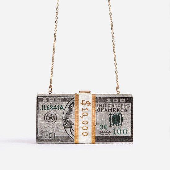 63% Off Boujee Premium Crystal Dollar Bill Cross Body Bag In Silver