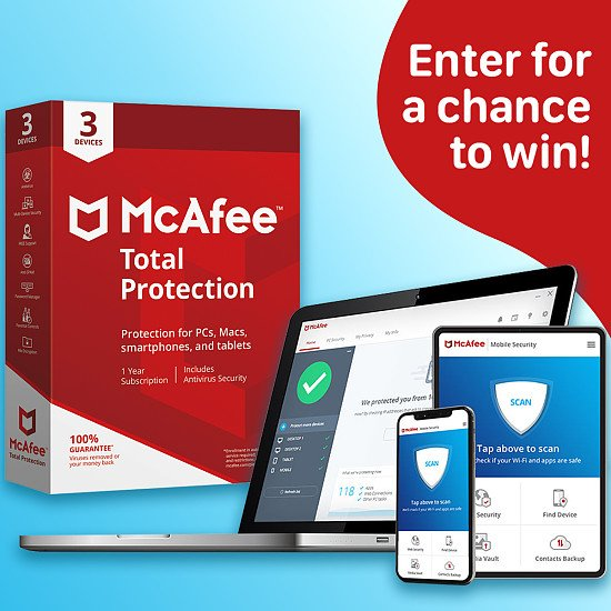 WIN a 1 Year Subscription to McAfee Antivirus Total Protection Software for 3 Devices