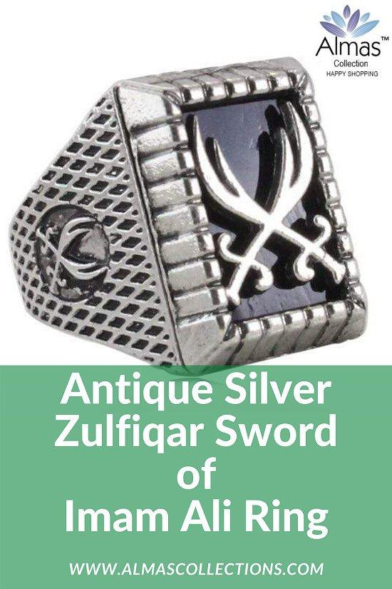 Antique Silver Zulfiqar Sword of Imam Ali Ring