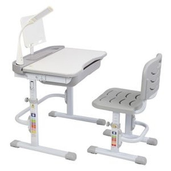 70CM Lifting Table Top Can Tilt Children Learning Table And Chair Grey With Reading Stand