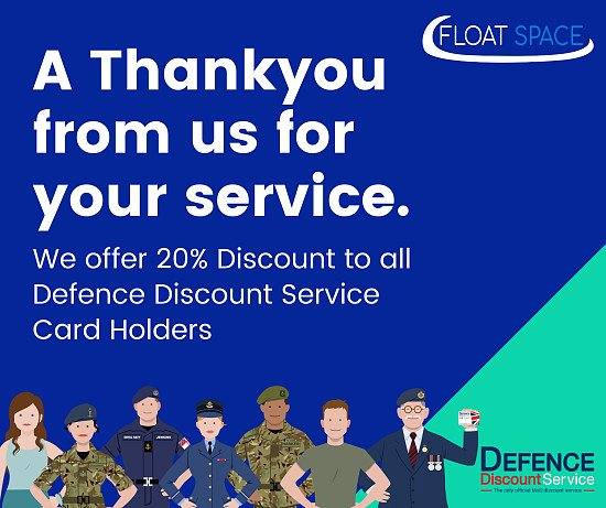 Defense Discount Service - Card holders get 20% off at Float Space