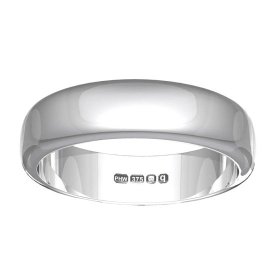 Save on 9ct White Gold 4mm D-Shaped Wedding Ring!