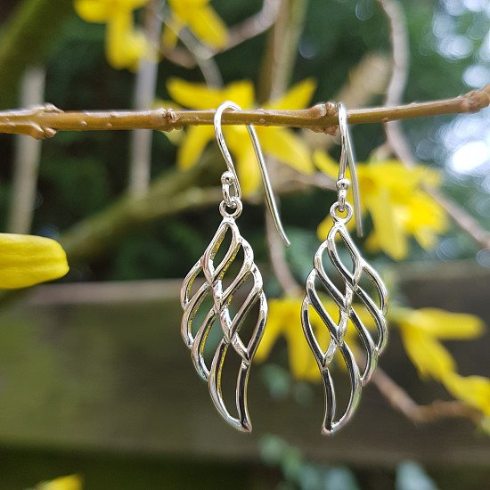 SAVE 30% - Deal of the Week - Gorgeous, sterling silver, abstract angel wing drop earrings