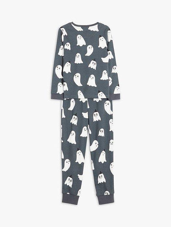 John Lewis & Partners Kids' Glow In The Dark Ghost Cotton Pyjamas, Charcoal £10.00 - £14.00!