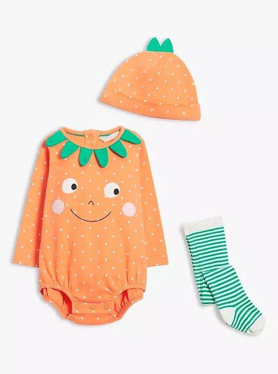 John Lewis & Partners Baby Pumpkin Bodysuit, Hat & Tights Set, Orange £18.00