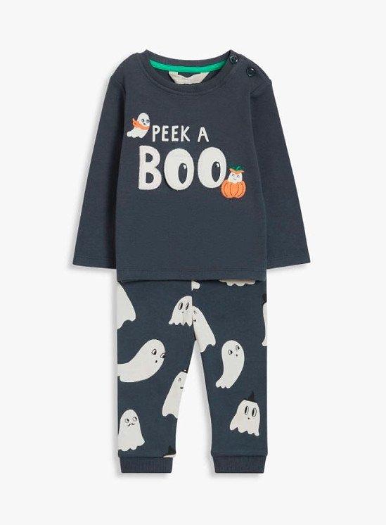 John Lewis & Partners Baby Peek A Boo Halloween Top & Leggings Set, Grey £14.00 - £15.00!
