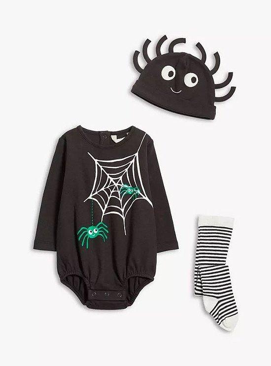John Lewis & Partners Baby Spider Romper, Hat & Tights Set, Black £18.00!