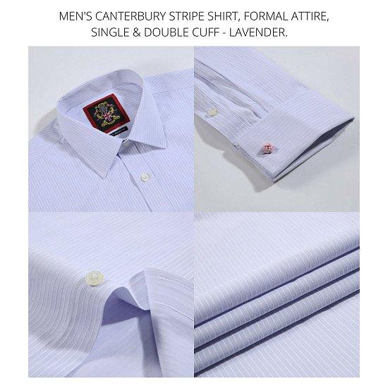 Men's Shirts, Formal Attire. The Lavender Canterbury Striped, Long Sleeve