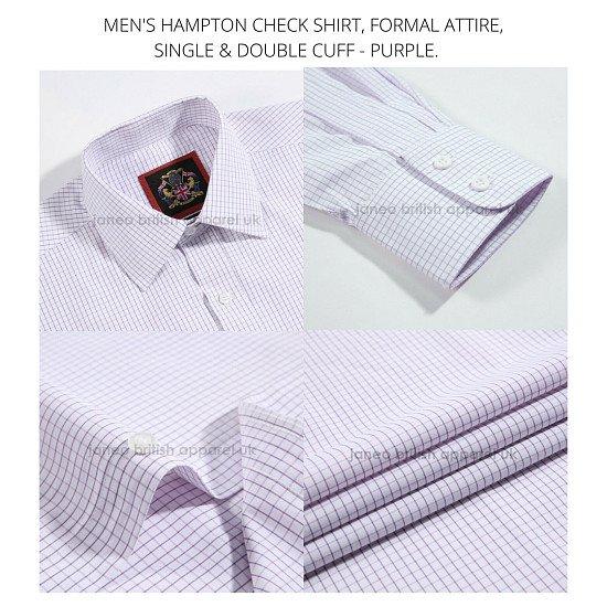 Men's Shirts, Formal Attire. The Purple Hampton Check, Long Sleeve.
