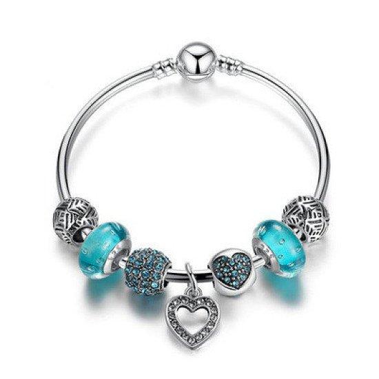 Blue Love Heart Charm Bangle Set - £6.99 was £21.99