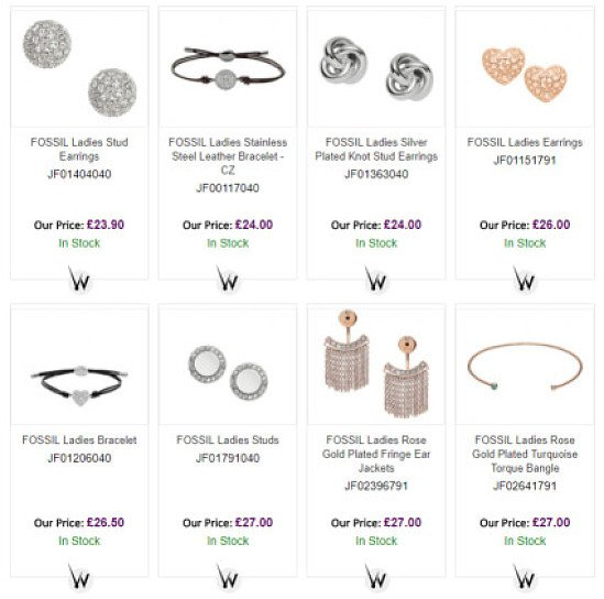Fossil Jewellery from just £16!