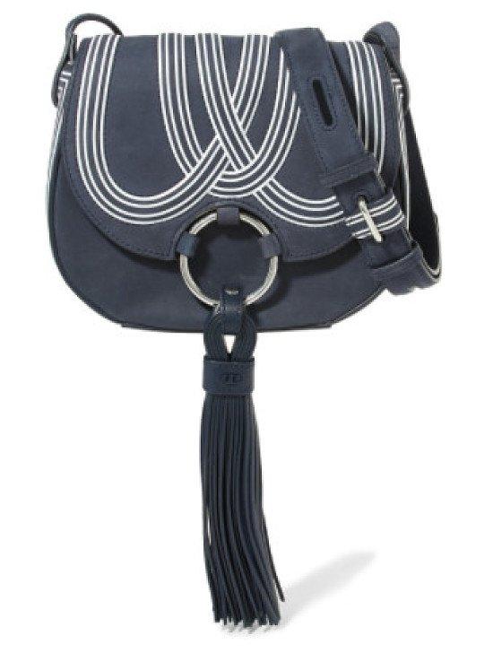 TORY BURCH Tasseled suede shoulder bag - 60% off