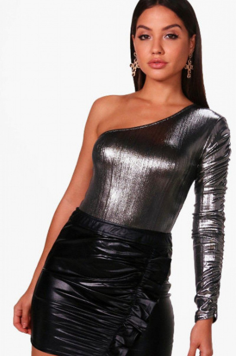 Get Christmas Party ready with this Premium Metallic One Shoulder Bodysuit - JUST £7.00!