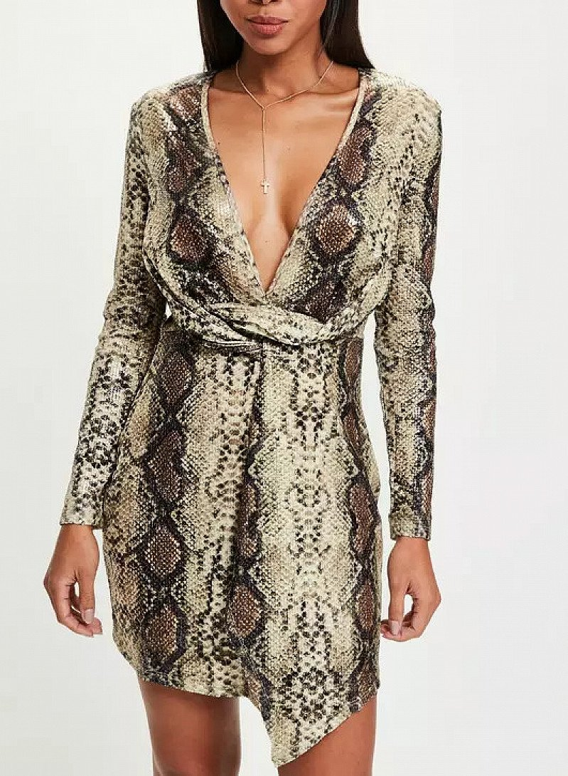 Nude Snake Wrap Front Dress ONLY £16.00 From £35.00!