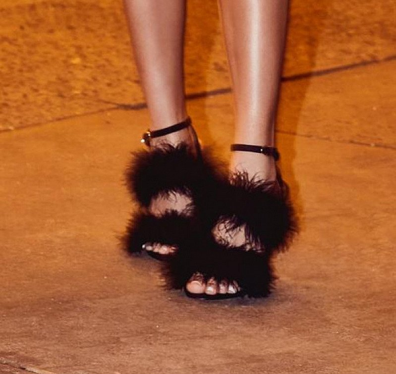 shop the Chantel Jeffries x Boohoo range TODAY - like these Feather Strap Heels JUST £25!