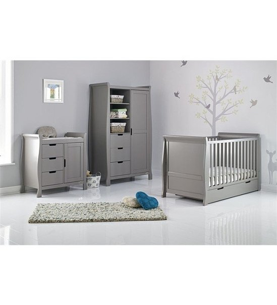 January Sales: Obaby Stamford Sleigh 3 Piece Room Set - Taupe Grey SAVE £350.00!