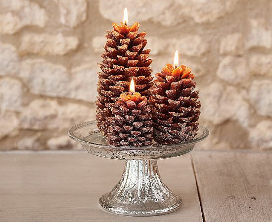 Set of 3 amazing Frosted Pine Cone Candles for £10