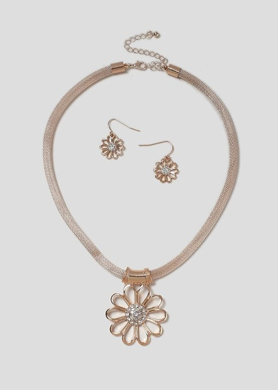 50% off this Flower Rose Gold Jewellery Set