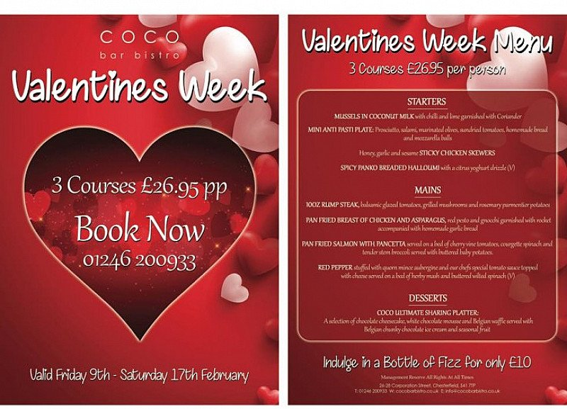 Check out our Valentines Menu - 3 Amazing Courses for £26.95 per person