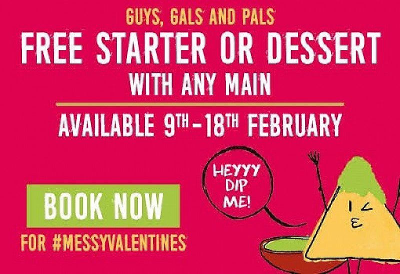Free Starter or Desert for Valentines Day when you Book Now