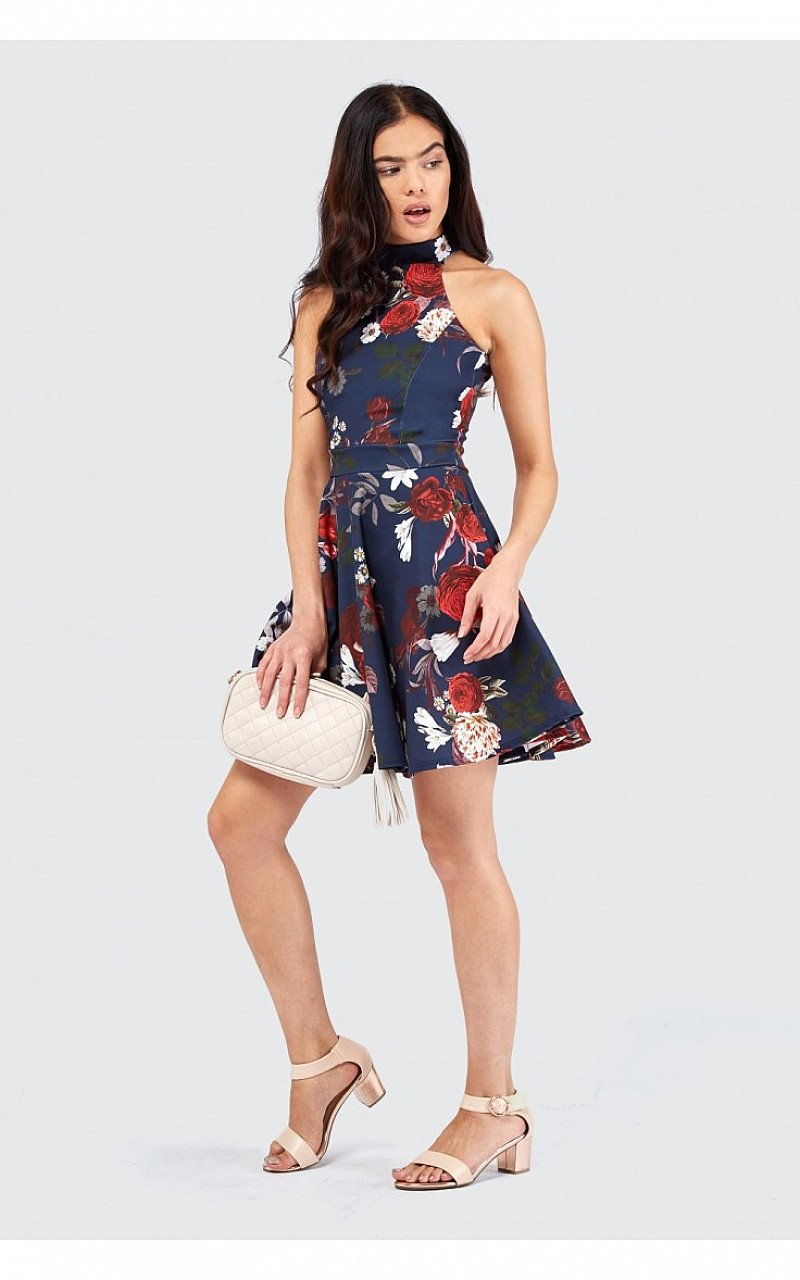 Save £10 on this Winter Floral High Neck Skater Dress
