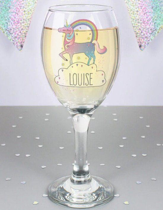 Personalised Unicorn Wine Glass £11.99