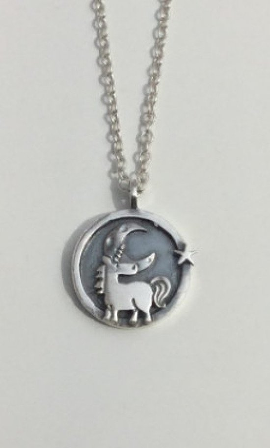 Unicorn Moon & Star Circle Pendant