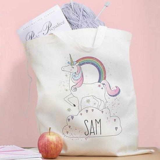 Personalised Unicorn Cotton Shopping Bag
