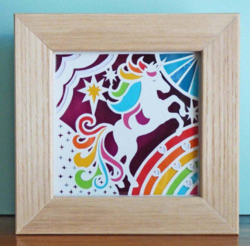 Original Framed Miniature Rainbow Unicorn
