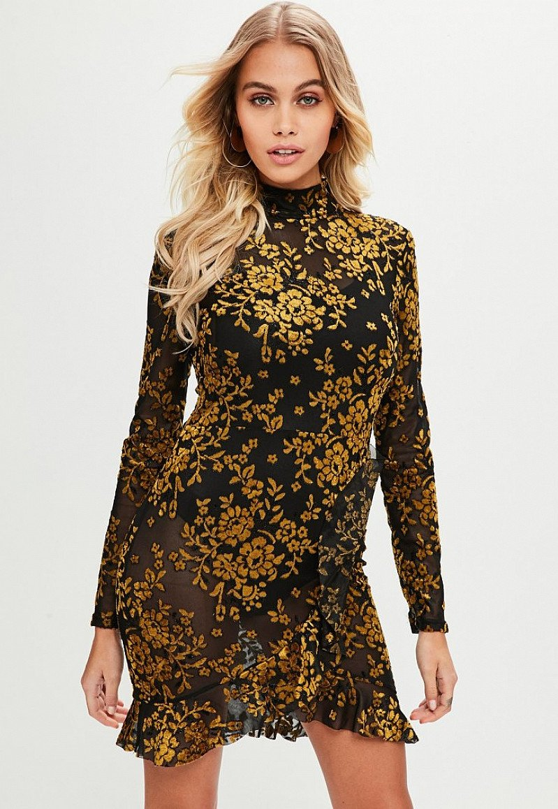 £20 off this Black Floral Flocked tea Dress