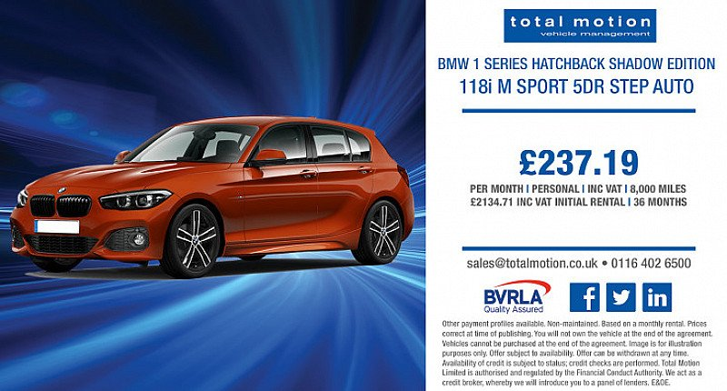 Lease the BMW 1 Series 118i M Sport Shadow Edition Auto from £237.19 (Inc VAT) per month!