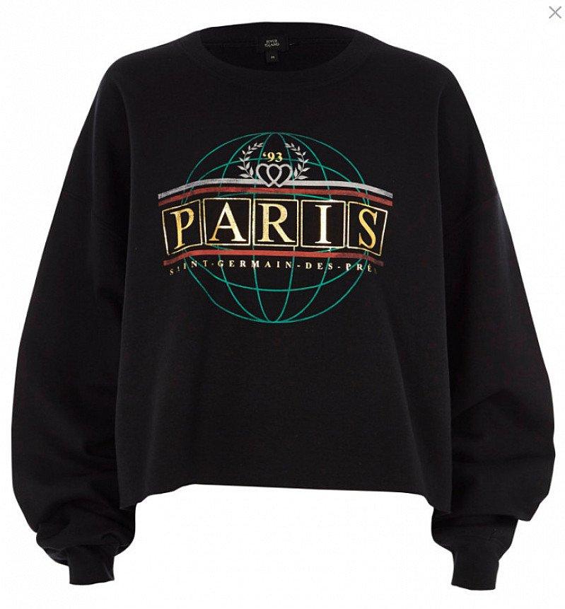 NEW IN - Black 'Paris' foil print sweatshirt £28.00!