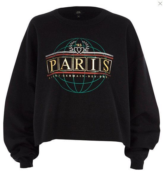 NEW IN - Black 'Paris' foil print sweatshirt £28.00!