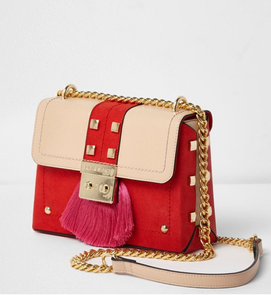 Red fringe lock small cross body chain bag - £35.00!