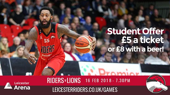 £5 Student Night at Riders Basketball on February 16th