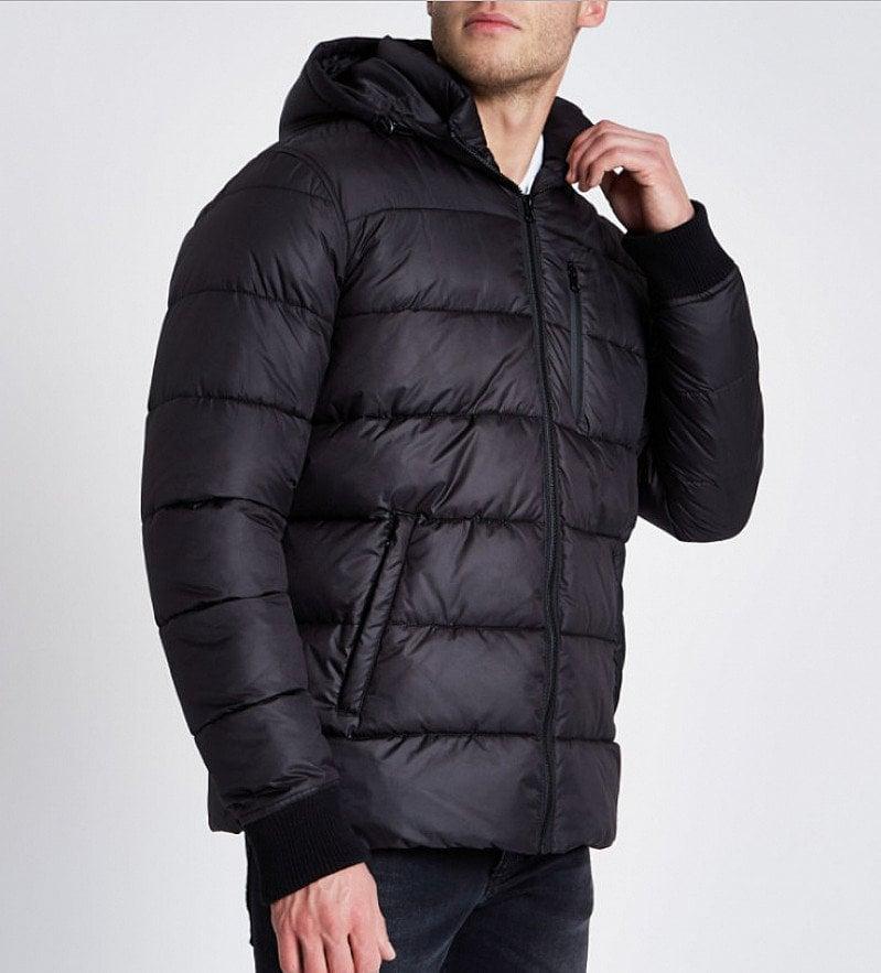 Black hooded puffer jacket - SAVE £15.00!