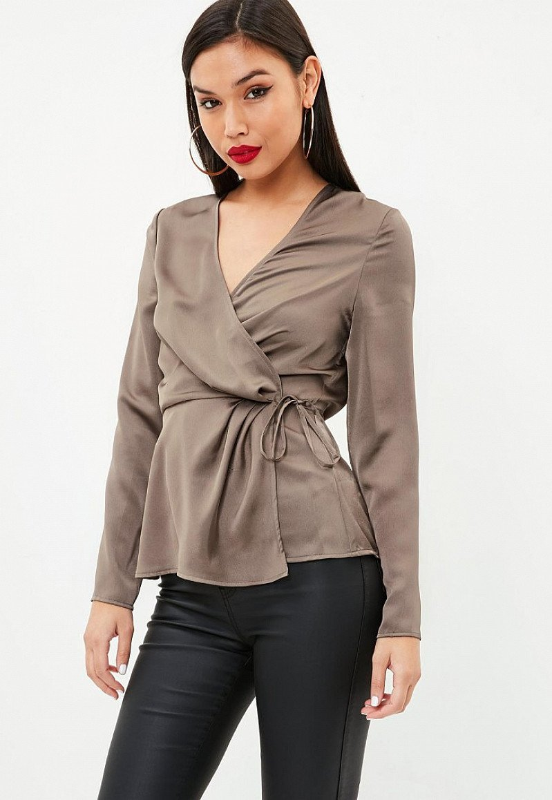 30% off tops & bottoms: brown satin wrap tie side blouse £24.00!