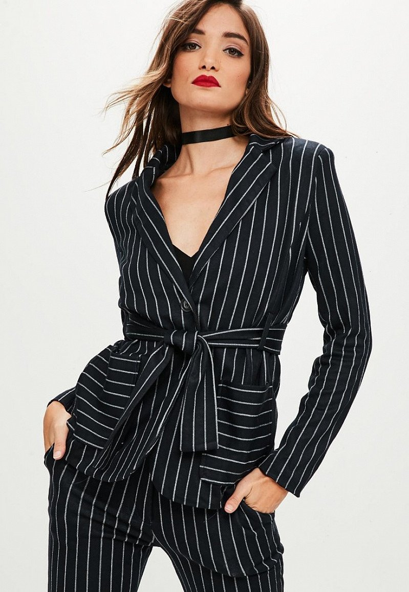 SALE - navy pinstriped wrap blazer: SAVE £25.00!