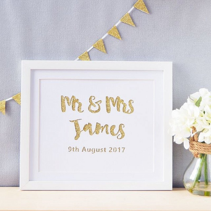 Personalised Mr & Mrs Glittered Cut Out Artwork From £19.50