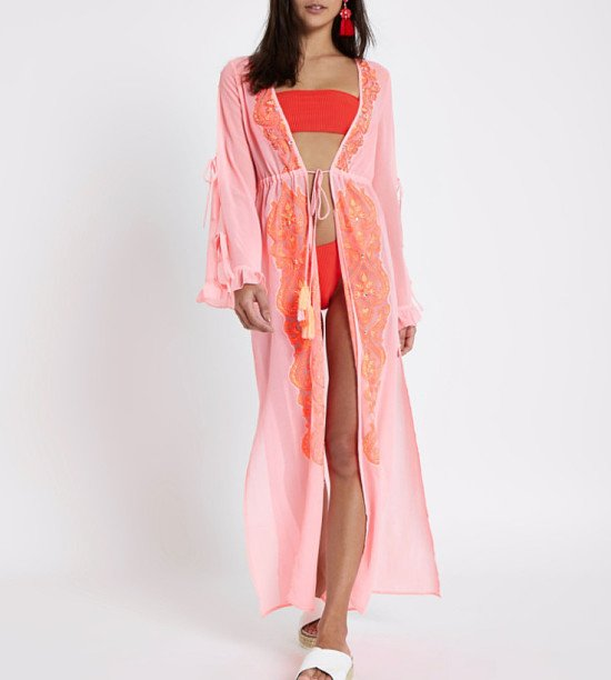 Start you summer shop - Bright pink embroidered maxi beach cover up £46.00!