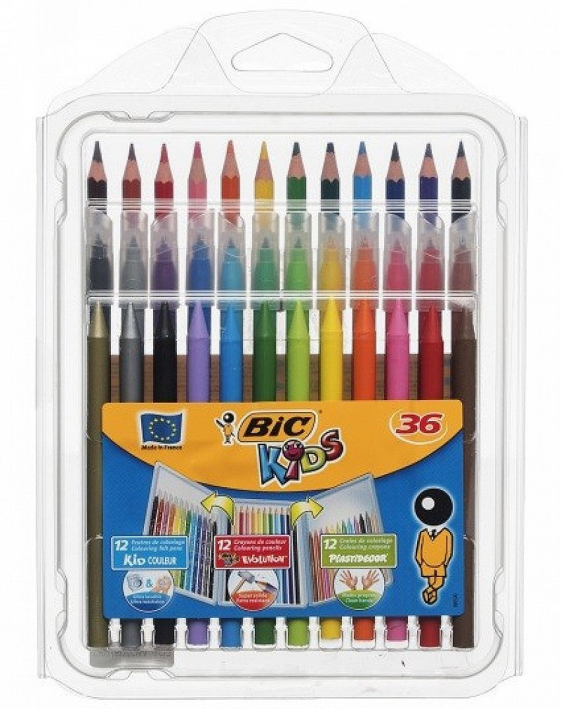 BiC Kids 36 Assorted Pens, Pencils and Crayons Colouring Set: SAVE £8.50!
