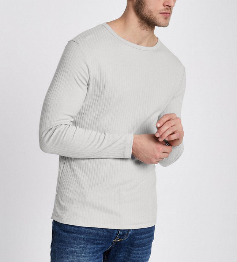 OFFERS - Buy 2 Long Sleeve t-shirt for £18.00, Including this Light Grey Ribbed Shirt!