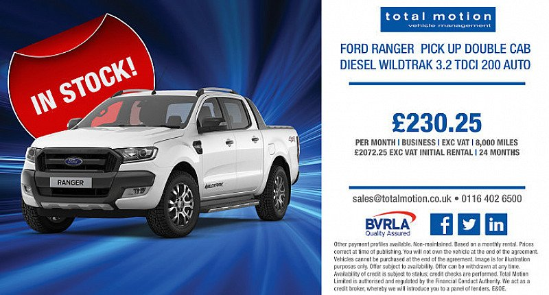 Ford Ranger Wildtrak Auto, in stock and available for a market-leading monthly rental!