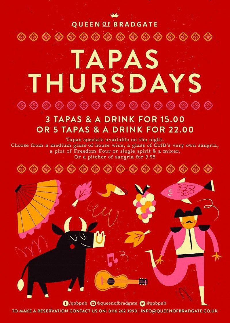 TAPAS THURSDAYS - 3 Tapas & a drink for £15.00!